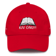 Load image into Gallery viewer, American Patriots Apparel Adjustable Strap Hat Red KJV Only! (WHITE TEXT) Multiple Bible Verses (WHITE TEXT) Adjustable Strap Hat (6 Variants)