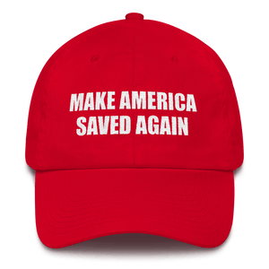 American Patriots Apparel Adjustable Strap Hat Red Make America Saved Again God Bless America Adjustable Strap Hat (5 Variants)