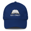 Load image into Gallery viewer, American Patriots Apparel Adjustable Strap Hat Royal Blue KJV Only! (WHITE TEXT) Multiple Bible Verses (WHITE TEXT) Adjustable Strap Hat (6 Variants)