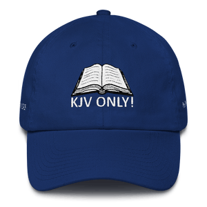American Patriots Apparel Adjustable Strap Hat Royal Blue KJV Only! (WHITE TEXT) Multiple Bible Verses (WHITE TEXT) Adjustable Strap Hat (6 Variants)