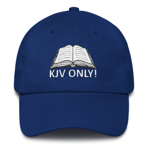 American Patriots Apparel Adjustable Strap Hat Royal Blue KJV Only! (WHITE TEXT) Psalm 12:6-7 (WHITE TEXT) Adjustable Strap Hat (6 Variants)