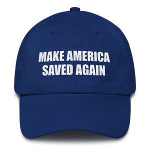 American Patriots Apparel Adjustable Strap Hat Royal Blue MAKE AMERICA SAVED AGAIN 1 Cor. 15:1-4 Adjustable Strap Hat (5 Variants)