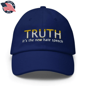 American Patriots Apparel Adjustable Strap Hat Royal Blue TRUTH It's The New Hate Speech White & Yellow Text Adjustable Strap Hat (7 Variants)