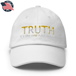 American Patriots Apparel Adjustable Strap Hat White TRUTH It's The New Hate Speech White & Yellow Text Adjustable Strap Hat (7 Variants)