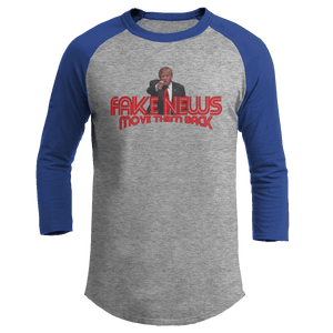 Print Brains Augusta Colorblock Raglan Jersey / Heather Gray/Royal Blue / S Trump Fake News MOVE THEM BACK Raglan (16 Variants)
