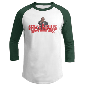 Print Brains Augusta Colorblock Raglan Jersey / White/Forest Green / S Trump Fake News MOVE THEM BACK Raglan (16 Variants)