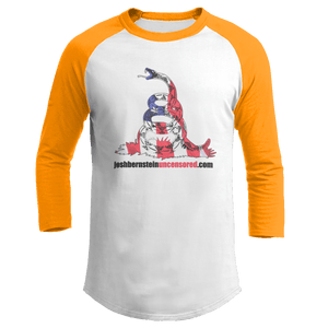 Print Brains Augusta Colorblock Raglan Jersey / White/Gold / S Don't Tread On Me Josh Bernstein Uncensored Raglan Jersey (16 Variants)