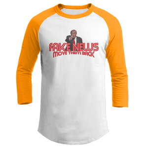 Print Brains Augusta Colorblock Raglan Jersey / White/Gold / S Trump Fake News MOVE THEM BACK Raglan (16 Variants)