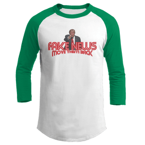 Print Brains Augusta Colorblock Raglan Jersey / White/Kelly Green / S Trump Fake News MOVE THEM BACK Raglan (16 Variants)