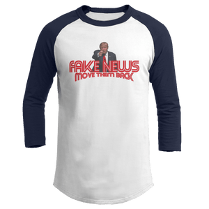 Print Brains Augusta Colorblock Raglan Jersey / White/Navy / S Trump Fake News MOVE THEM BACK Raglan (16 Variants)