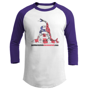 Print Brains Augusta Colorblock Raglan Jersey / White/Purple / S Don't Tread On Me Josh Bernstein Uncensored Raglan Jersey (16 Variants)