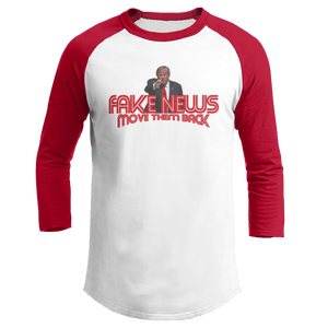 Print Brains Augusta Colorblock Raglan Jersey / White/Red / S Trump Fake News MOVE THEM BACK Raglan (16 Variants)
