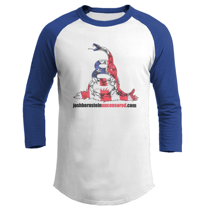 Print Brains Augusta Colorblock Raglan Jersey / White/Royal Blue / S Don't Tread On Me Josh Bernstein Uncensored Raglan Jersey (16 Variants)