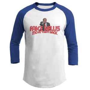 Print Brains Augusta Colorblock Raglan Jersey / White/Royal Blue / S Trump Fake News MOVE THEM BACK Raglan (16 Variants)