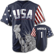 Load image into Gallery viewer, Print Brains Baseball Jersey America #1 Baseball Jersey / Navy / S America #1 Baseball Jersey (3 Variants)