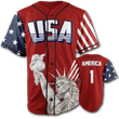 Load image into Gallery viewer, Print Brains Baseball Jersey America #1 Baseball Jersey / Red / S America #1 Baseball Jersey (3 Variants)
