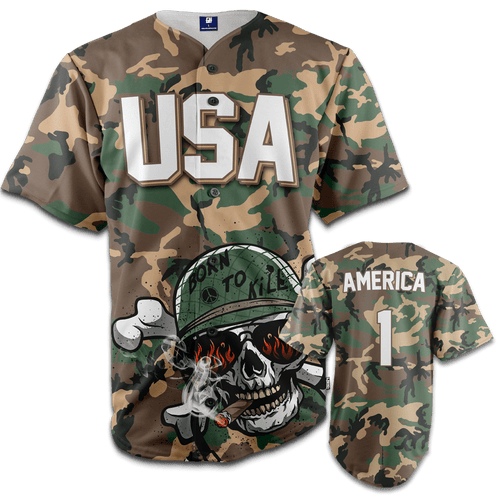 Print Brains Baseball Jersey Camo / S Born To Kill Bad Guys Baseball Jersey