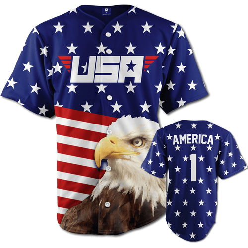 Print Brains Baseball Jersey Eagle America #1 Baseball Jersey / Royal Blue / S Eagle America #1 Baseball Jersey