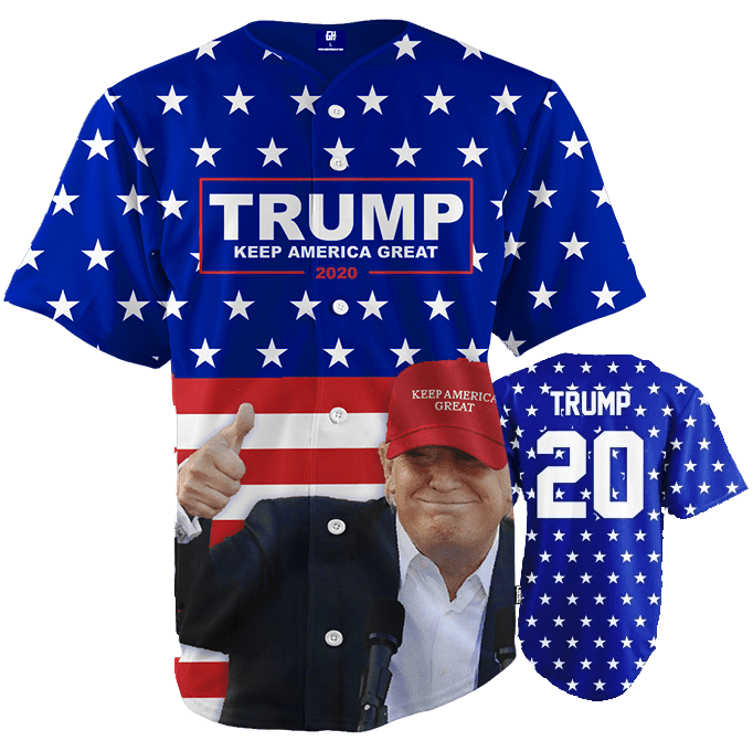 Print Brains Baseball Jersey Keep America Great Baseball Jersey / Royal Blue / S Keep America Great Baseball Jersey