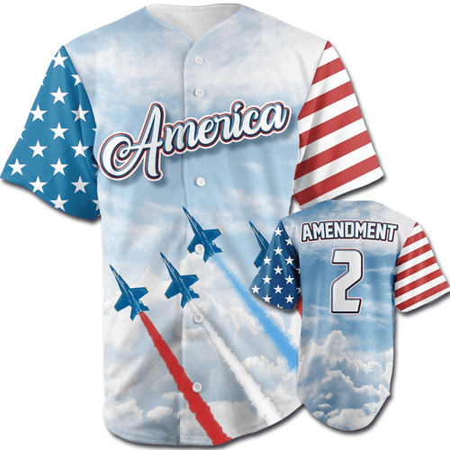 Print Brains Baseball Jersey Team America 2nd Amendment Jersey v2 / S Team America 2nd Amendment Jersey v2