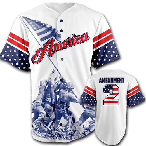 Print Brains Baseball Jersey Team America 2nd Amendment Jersey / White / S Team America 2nd Amendment Jersey