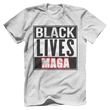 Load image into Gallery viewer, Print Brains Bella + Canvas US Made Cotton Crew / Heather Gray / XS BLACK LIVES MAGA Tee (6 Variants)