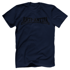 Print Brains Bella + Canvas US Made Cotton Crew / Navy / XS Anti-Antifa Black Text Bella + Canvas Cotton Crew T-Shirt (5 Variants)