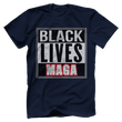 Load image into Gallery viewer, Print Brains Bella + Canvas US Made Cotton Crew / Navy / XS BLACK LIVES MAGA Tee (6 Variants)