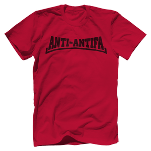 Print Brains Bella + Canvas US Made Cotton Crew / Red / XS Anti-Antifa Black Text Bella + Canvas Cotton Crew T-Shirt (5 Variants)