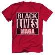 Load image into Gallery viewer, Print Brains Bella + Canvas US Made Cotton Crew / Red / XS BLACK LIVES MAGA Tee (6 Variants)