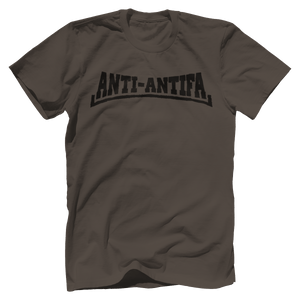 Print Brains Bella + Canvas US Made Cotton Crew / Warm Gray / XS Anti-Antifa Black Text Bella + Canvas Cotton Crew T-Shirt (5 Variants)
