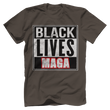 Load image into Gallery viewer, Print Brains Bella + Canvas US Made Cotton Crew / Warm Gray / XS BLACK LIVES MAGA Tee (6 Variants)