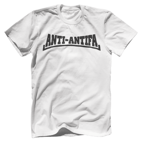 Print Brains Bella + Canvas US Made Cotton Crew / White / XS Anti-Antifa Black Text Bella + Canvas Cotton Crew T-Shirt (5 Variants)