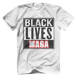 Load image into Gallery viewer, Print Brains Bella + Canvas US Made Cotton Crew / White / XS BLACK LIVES MAGA Tee (6 Variants)