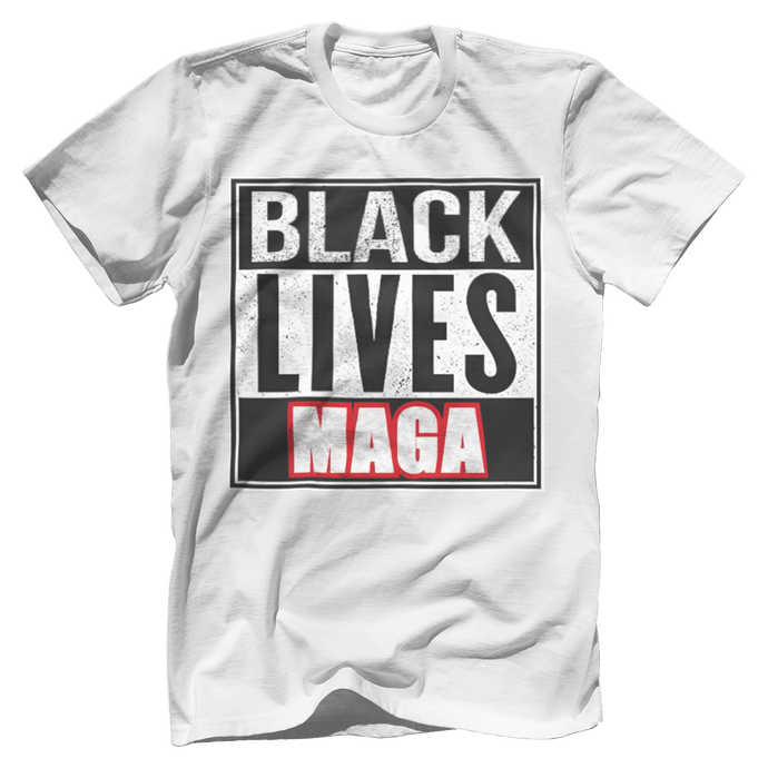 Print Brains Bella + Canvas US Made Cotton Crew / White / XS BLACK LIVES MAGA Tee (6 Variants)