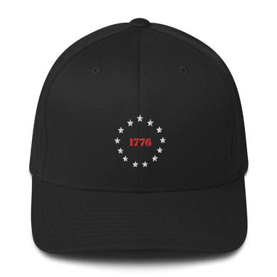 American Patriots Apparel Black / S/M 1776 Thirteen Colonies Besty Ross Flexfit Structured Twill Hat (7 Variants)