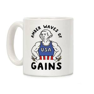 LookHUMAN Coffee Mug 11 Ounce Amber Waves Of Gains George Washington USA Ceramic Coffee Mug