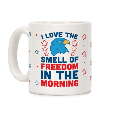 LookHUMAN Coffee Mug 11 Ounce I Love The Smell Of Freedom In The Morning Ceramic Coffee Mug