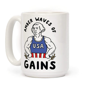 LookHUMAN Coffee Mug 15 Ounce Amber Waves Of Gains George Washington USA Ceramic Coffee Mug