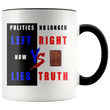 Load image into Gallery viewer, teelaunch Coffee Mug Black / 11 oz. 11 oz. Politics No Longer Left VS Right Now Lies VS Truth Ceramic Accent Coffee Mug (7 Variants)