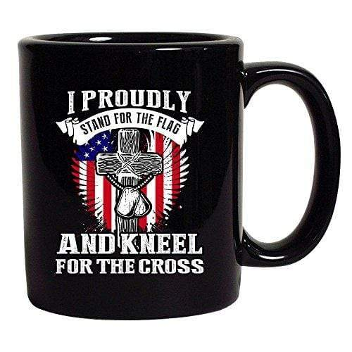 Best Threads Coffee Mug Black / 11 oz. I Proudly Stand For The Flag And Kneel For The Cross Mug (2 Variants)