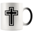 Load image into Gallery viewer, teelaunch Coffee Mug Black and White Cross (Exterior Transparent) / 11 oz / Black/White The Cross 11oz Color Changing Coffee Mug (4 Variants)