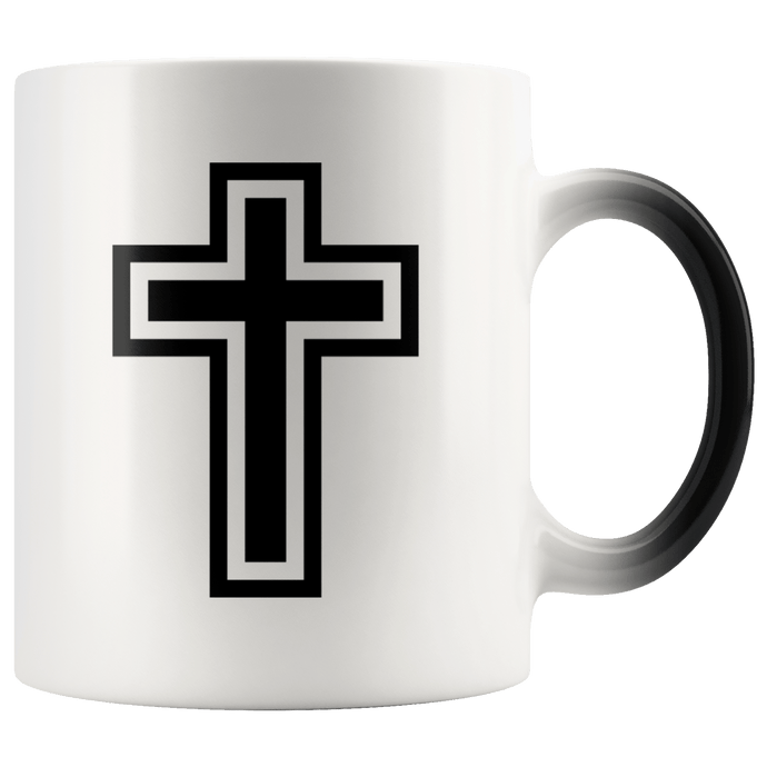 teelaunch Coffee Mug Black and White Cross (Exterior Transparent) / 11 oz / Black/White The Cross 11oz Color Changing Coffee Mug (4 Variants)