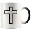 Load image into Gallery viewer, teelaunch Coffee Mug Black Cross (Interior White and Exterior Transparent) / 11 oz / Black/White The Cross 11oz Color Changing Coffee Mug (4 Variants)