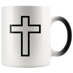 teelaunch Coffee Mug Black Cross (Interior White and Exterior Transparent) / 11 oz / Black/White The Cross 11oz Color Changing Coffee Mug (4 Variants)
