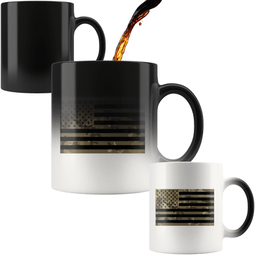 teelaunch Coffee Mug Black Stars and Stripes / 11 oz / Black Camo American Flag 11oz Color Changing Coffee Mug (2 Variants)