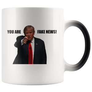 teelaunch Coffee Mug Black Text / 11 oz / Black You Are Fake News! Trump 11 oz Color Changing Coffee Mug (2 Variants)