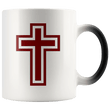 Load image into Gallery viewer, teelaunch Coffee Mug Blood Red and White Cross (Exterior Transparent) / 11 oz / Black/White The Cross 11oz Color Changing Coffee Mug (4 Variants)