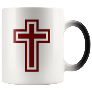 teelaunch Coffee Mug Blood Red and White Cross (Exterior Transparent) / 11 oz / Black/White The Cross 11oz Color Changing Coffee Mug (4 Variants)