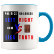 Load image into Gallery viewer, teelaunch Coffee Mug Blue / 11 oz. 11 oz. Politics No Longer Left VS Right Now Lies VS Truth Ceramic Accent Coffee Mug (7 Variants)